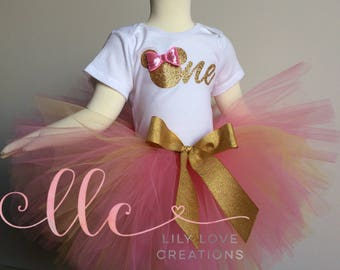 Pink and gold Minnie mouse birthday outfit - pink and gold birthday theme - pink and gold Minnie mouse birthday - minnie mouse 1st birthday