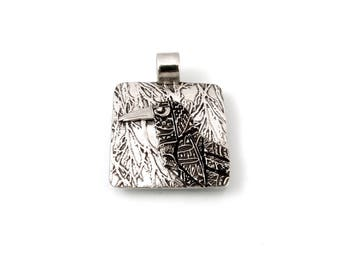 Sterling Silver, Raven, Corvidae, Crow, Raven Pendant, Raven Necklace, Raven Jewelry, Raven Totem, Crow Jewelry, Silver Raven, 979aa