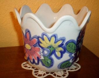 Porcelain/FLOWER POWER/MEXICO/Planter/No Chips/No Cracks/No Drain Hole