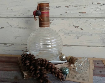 Antique Liquor Bottle With Raffia Accents - Antique Barware + Mid Century Clear Glass Decanter, Mid Century Gift, Party Serving Ware, Decor
