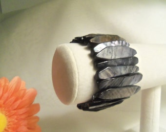 Chic Women's GUNMETAL Gray Mother of Pearl Shell Wide Cuff STRETCH Bracelet- Birthday Gift for Her Mom Mother Bride Brides. TREASURY Llist