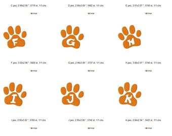Paw Print Alphabet and Number Set Machine Embroidery Design - Instant Download