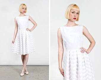 Vintage 1960s White Cotton and Lace Mod Go Go Dress