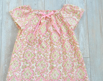 Baby Girl Toddler Girl Cotton Ruffled Nightgown, Sizes 6 Months thru 4T, Rose and Ruffle