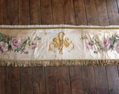1800s altar frontal antependium cloth handpainted silk Antique French religious church liturgical fabric w roses, IHS, gold bullion fringe