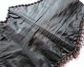 Antique French black boned hook up corset w lace, jet beads, satin 1900s lingerie, pin up Victorian steampunk gothic clothing burlesque sexy