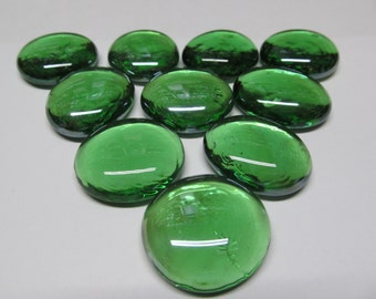 Green Large Gems, Nuggets, Flat Backed  Mosaic Tiles/Glass/Cabochons 10 ct -