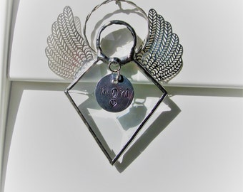Diamond Angel Crystal Bevel Holiday Ornament - Faceted Crystal Gem - Dainty, elegant, silver filigree wings, Hand Stamped Tag now Available
