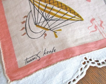 Tammis Keefe Handkerchief Hot Air Balloons, 1950's 1960's Retro Swanky, Hand Rolled Stitched Edges Coral PINK Gold Brown Black Collectible