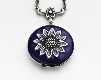 Necklace for Women Floral Jewelry, Flower Necklace Locket, Locket Pendant Photo Locket,