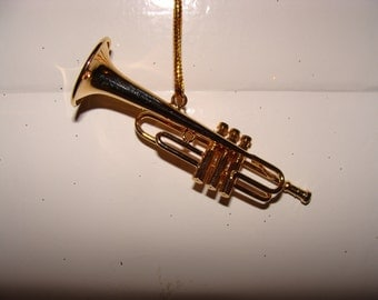 Trumpet Ornament, Gold Plated Brass, No Sound, Very Detailed, 3""
