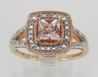 Diamond and Princess Cut Morganite Halo Engagement Ring Rose Gold Size 7
