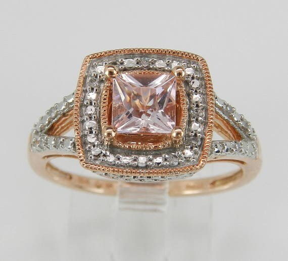 Diamond and Princess Cut Morganite Halo Engagement Ring Rose Gold Size 7