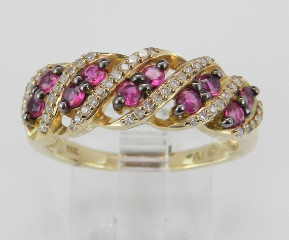 Diamond and Ruby Wedding Band Anniversary Ring 14K Yellow Gold Size 7 July Birthstone