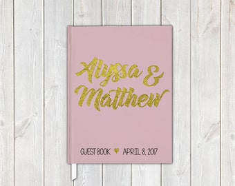 Blush Pink and Gold Faux Metallic Foil Wedding Guest Book - Personalized Traditional Guestbook, Journal, Album