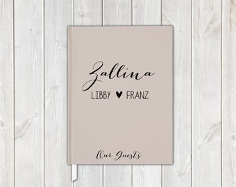 Cream and Black Handwritten Script Wedding Guest Book with Last Name, Bride and Groom - Personalized Traditional Guestbook, Journal, Album