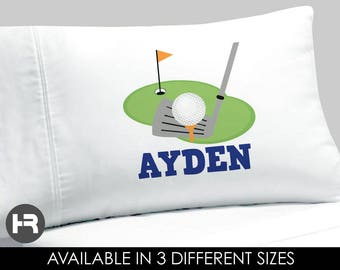 Golf Pillowcase -  Boys Personalized Golfl Pillow case - Standard Personalized Pillowcase - Golf Bedding - Golf Decor