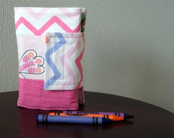 Crayon Wallet - Birds - Butterflies - Pink - Blue - Green - Crayon Holder - Crayon Roll - Stocking Stuffer - Gift Under 20