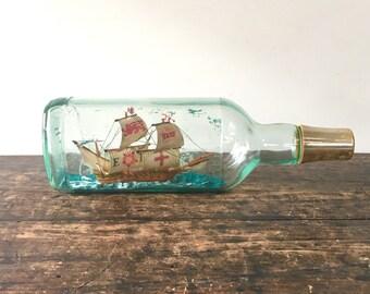 Vintage Ship in Bottle, Teacher's Scotch