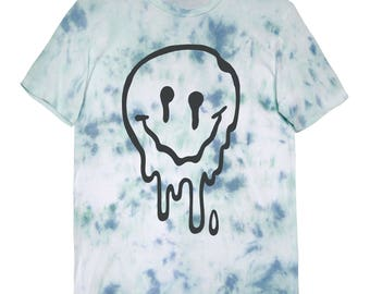 Melted Smiley Face Unisex Tie Dye T Shirt