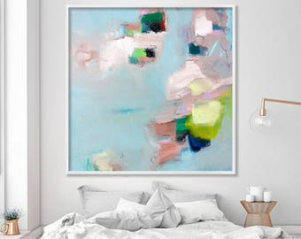 Large fine art print, GICLEE print from abstract painting, modern Painting, Abstract Art, Light Blue, aqua, Beige, green