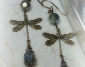 Nature Inspired Fairy Woodland Vintage Victorian Style Brass Dragonfly Mystical Topaz Dangle Drop Earrings