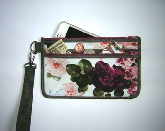 iPhone 7 plus case  small clutch makeup & phone wallet with removable strap Cell Phone Purse canvas floral bag in White Green Pink colours