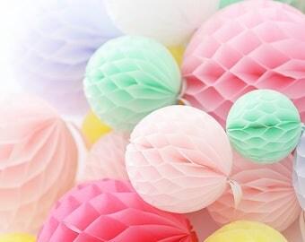 Party decoration Set of 15 Handmade  tissue paper HONEYCOMB BALLS - custom colors