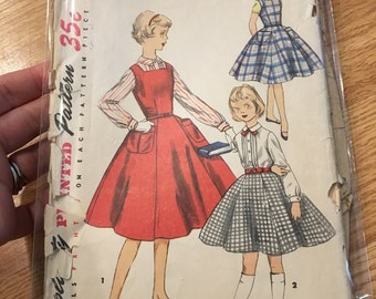 Simplicity 1330 printed sewing pattern size 12 dress jumper blouse skirt 1950s 50s girls clothing