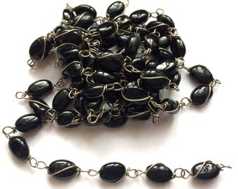 Vintage Chain, 5 Continuous Feet, Wire Wrapped, Black Bead Chain, Caged Bead Chain, Jewelry Making, Jewelry Chain, Bsue Boutiques, Item02912
