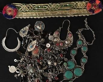 Mixed Lot KUCHI Afghan Tribal Jewelry BROKEN Parts Findings Beads Pendants Belly Dance Costume Supply KP8 Uber Kuchi®