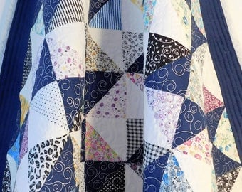 "Small Lap Throw, Baby Quilt, Table Top Quilt, Navy Blue Multi Colored Patchwork Quilt 34"" x 34"" 100% Cotton"