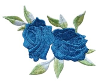 blue Rose Applique Patch Embroidered Iron on