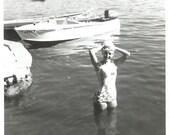 "Vintage Snapshot ""Shampoo"" Pretty Girl Swimsuit Washing Her Hair Found Photo"