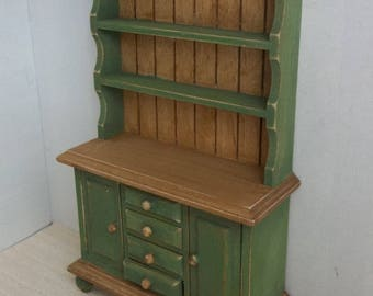 NEW Rustic Hutch Hauser Green in 1:12 Scale for Dollhouse Miniature Country Kitchen