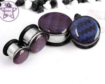 "Carbon Fibre Plug / Gauge Blue Purple Chameleon Colour Shifting Glossy Top 2g, 0g, 00g, 7/16"" / 6mm, 8mm, 10mm, 11mm"