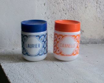 Vintage French Spice Jars // 1970 French Milk Glass Arcopal //  Retro Kitchen