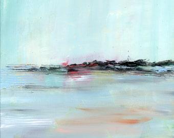 Original Landscape Painting,minimalist, modern art, square, Fine Art, bright, colorful, wrapped canvas
