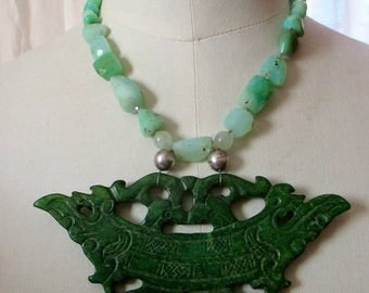 Statement chrysoprase necklace with large carved jade pendant Frida Kahlo necklace advanced style bold spring necklace choker OOAK