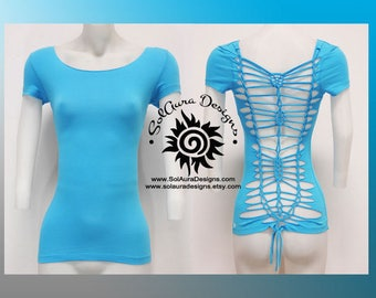 SENSUAL BEAUTY 3 - Juniors / Womens Cut and Weaved Beautiful Turquoise Top - Yoga Wear, Festival Wear, Club Wear, Beach Wear