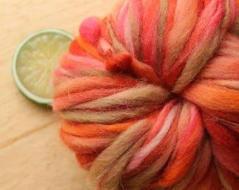 Sour Cherry - Handspun Wool Yarn Red Orange Tan Thick and Thin Skein