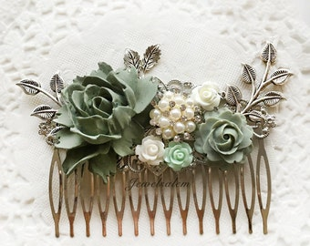 Rustic Sage Green Wedding Hair Comb, Bridal Hair Adornment, White Pearls Rhinestone, Silver Leaves, Romantic Mint Flower Headpiece, Woodland