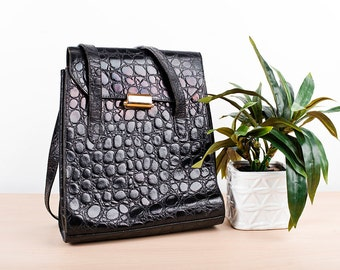 Vintage 80s Black Bag Leather Embossed Croc Tote
