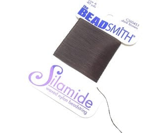 BeadSmith Silamide. Waxed Nylon Bead String. Size A. Stringing Supplies. Beadweaving Thread. Beading Thread. Dark Brown. 40 yards. One (1).