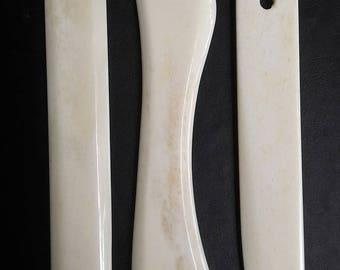 3 PCS Set of Bookbinding Bone Folder great for paper crafts, origami From Genuine Buffalo Bone