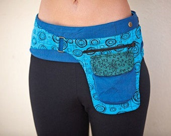 Hip Festival Snap Belt with Attached Pouch - Blue