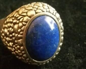 Huge Vintage Sterling silver Lapis Ring Artist Signed