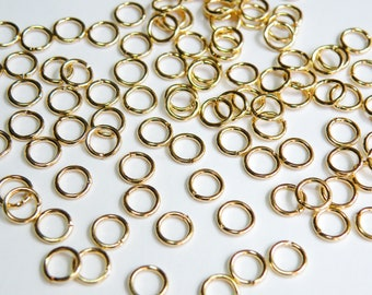 50 Jump Rings round open shiny gold plated brass 5.5mm 20 gauge A5108FN