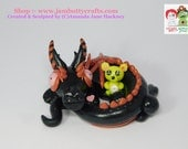 Merlin De Squeek, Stardust Clay Dragon. With yellow mouse bear thing, Hand Sculpted Polymer Clay Figurine