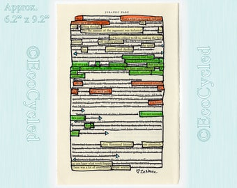 No Reality Here Jurassic Park Blackout Poetry Word Art Original Artwork Found Poem  hand embellished bookworm gift OOAK Book lovers decor
